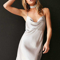 Bardot Mercury Satin Cowl-Neck Mini Slip Dress - Urban Outfitters