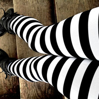 I'll get you my pretty Black and white stripe Leggings pants lycra