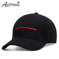 Trendy Winter Jacket [AETRENDS] Fashion red line embroidered cap logo snapback hip hop brand baseball caps for men women outdoor sport hats Z-5277 AT_92_12