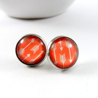 Coral and White Southwestern Arrow Stud Style Earrings in Silver setting, Glass Jewelry, 12mm Round