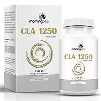 CLA 1250 mg 90 Count Highest Potency 80% Conjugated Linoleic Acid Weight Management Diet Supplement By Morning Pep, Non-GMO Fat Burner Metabolism Booster And Natural Weightloss Supplement