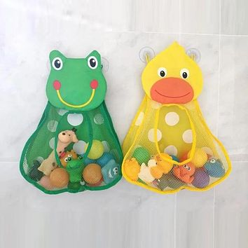 Baby Shower Bath Toys Duck Little Frog Rabbit Baby Kid Toy Storage Mesh with Strong Suction Cups Toy Bag Net Bathroom Organizer