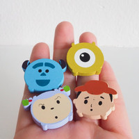 SALE Cute toy story, monster inc Magnet Set , Wooden 4 Piece, Wood Animal Magnet Set, Home Decor, Cabin Decoration, Wood Cutout, Kitchen