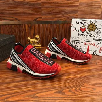 Dolce & Gabbana D&G Sorrento Sneakers With Rhinestones Red - Best Online Sale