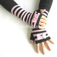 Knitted Arm Warmers in Pink and black- Stripe Gloves- Arm Warmers- Womens Gloves-Bow Gloves.