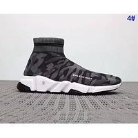 Balenciaga Woman Men Boots Fashion Breathable Camouflage Sneakers Running Shoes 4#