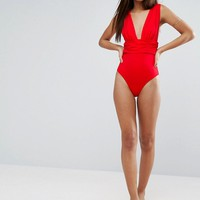 ASOS TALL Gathered Waist Band Swimsuit at asos.com