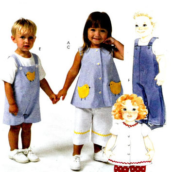 Childrens Pattern Shoulder Button Jon Jon Jumpsuit Two Lengths Girls Swing Top Pants Capri McCalls M4756 Sewing Patterns Uncut Size 1 2 3 4