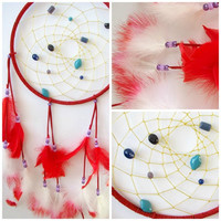 Large Native Dream catcher, 9 inch diameter, Red Dreamcatcher, gift, wall hanging, home decor