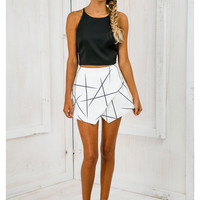 Asymmetrical Geometric Print Skirt B005816