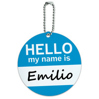 Emilio Hello My Name Is Round ID Card Luggage Tag