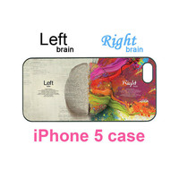 iphone 5 case--left and right brain,personalize iphone 5 plastic hard case in black or white