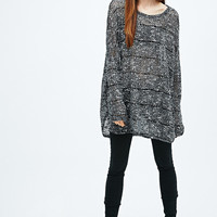 Sparkle & Fade Oversized Tunic Jumper in Mono - Urban Outfitters