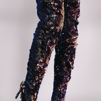 Liliana Holographic Stiletto Over The Knee Boots