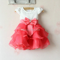 Girls Children Fashion Waves Princess Dress With Bow Sash 4 pcs/lot Girls Baby Summer Rhinestone TUTU Dress Children's Dress