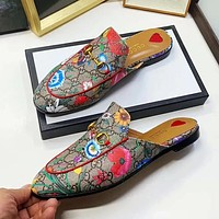 GUCCI New Sexy Lady Letter Floral Print Flat Casual Slipper
