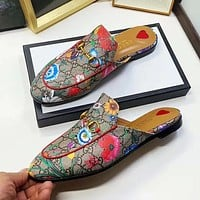 Hipgirls GUCCI New Sexy Lady Letter Floral Print Flat Casual Slipper
