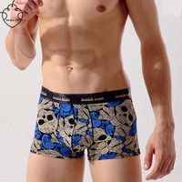 SP&CITY Fashion Skull Male Boxer Cotton Mens Underwear Pictures Sexy Gay Underwear Thermal Underwear Big Men Boxers Bulge