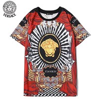 Versace New fashion letter human head print couple top t-shirt Red