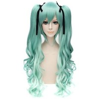 Snow Miku Green Hair Women Side Long Ponytail Anime Cosplay Wavy Curly Full Wig