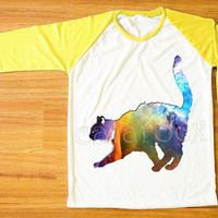 Galaxy Cat T-Shirt Cat Shirt Animal T-Shirt Galaxy Shirt Yellow Sleeve Shirt Women T-Shirt Men T-Shirt Unisex T-Shirt Baseball Shirt S,M,L