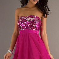 Short Strapless Sequin Prom Dress by Hailey Logan