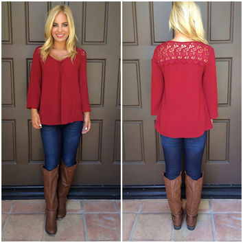 Sky's The Limit Lace Top - BURGUNDY