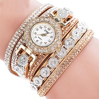 Bracelet Watch Women Watches Rhinestone Bangle  Fashion PU Leather Analog Quartz Clock watch