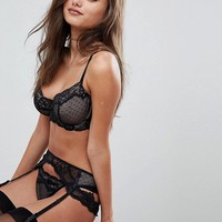 ASOS FULLER BUST Lizzie Dobby & Lace Bra, Thong and Suspender Set 30DD - 38HH at asos.com