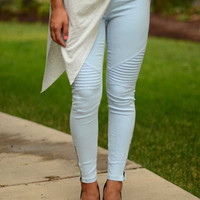 See You Around Moto Leggings - Light Blue