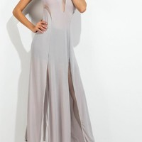 Grey Patchwork Grenadine See-through Round Neck Sleeveless Maxi Dress