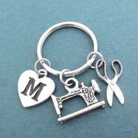 Personalized, Letter, Initial, Sewing machine, Scissors, Key chain, Crafty person, Craft, Key ring, Birthday, Friends, Christmas, Gift