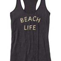 Women's Sequined-Graphic Racerback Tanks | Old Navy