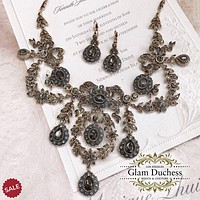 Bronze Antique Gold Vintage Inspired Victorian Bridal Jewelry Set
