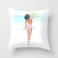 Where the weather's warm and the girls are pretty. Throw Pillow by John Medbury (LAZY J Studios)