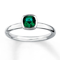 Stackable Ring Lab-Created Emerald Sterling Silver