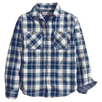 H&M - Cotton Shirt - Blue/white checked - Kids