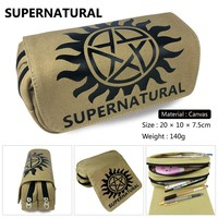 Supernatural SPN Evil Boys Girls Wallet Canvas Pencil Case School Supplies Bags Student Gift Make up Bag