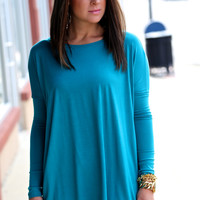 Long Sleeve Teal Piko