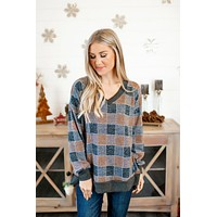 Printed L/S Top (Navy Check) FINAL SALE