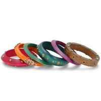 Set of Six Multi-Colored Assorted Wooden Bangle Bracelets, 7 Inches