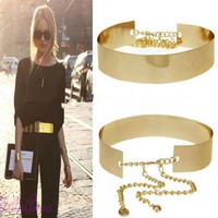 Women Gold Full Metal Plate Waist Mirror Surface Chains Waistband Adjustable Belt = 1958307460