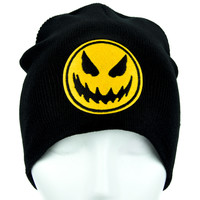 Death Pumpkin Beanie Jack O Lantern Halloween Clothing Knit Cap