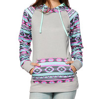 Gray Geometric Print  Hooded Sweaters with Pocket