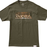 Diamond Gone Fishing Tee Small Military Green