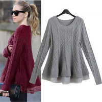 """""""Autumn and Winter Women Sweater and Pullover Women Poncho Knitting Sweater Women 2015 #FW025"""