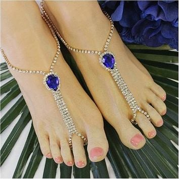 BRIDESMAID  teardrop rhinestone barefoot sandals - sapphire blue gold