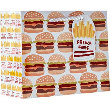 Small Gloss Gift Bags with Holographic, Hamburger & Fries (60 Pieces)