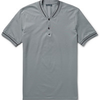 Lanvin - Slim-Fit Baseball-Collar Cotton-Piqué Polo Shirt | MR PORTER