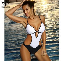 NAKIAEOI Sexy Thong One Piece Swimsuit 2018 Plus Size Swimwear Women Bathing Suit Swim Wear Monokini Beachwear Swimming S~XXL